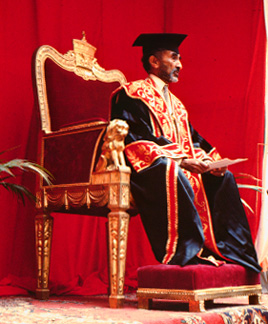 Haile Selassie on his throne